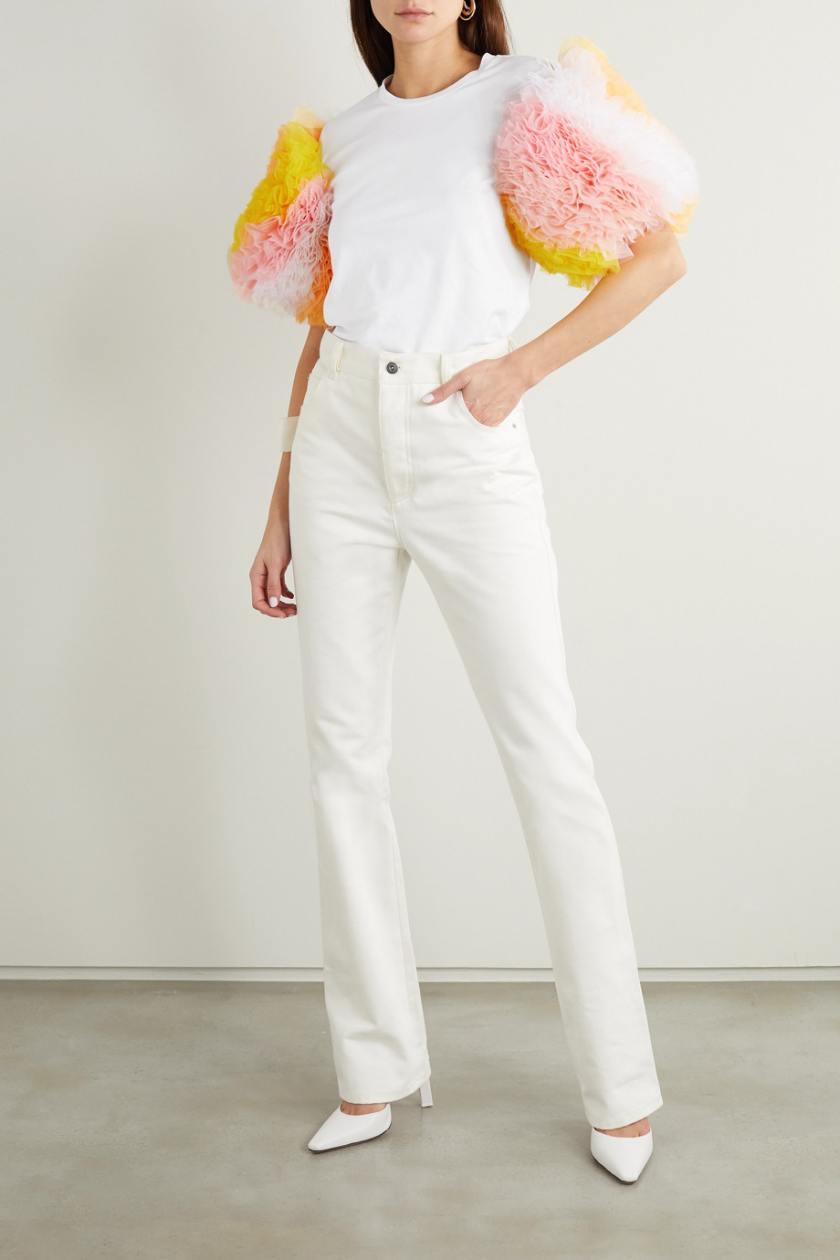 TOMO KOIZUMI X EMILIO PUCCI Cotton-jersey and ruffled tulle T-shirt