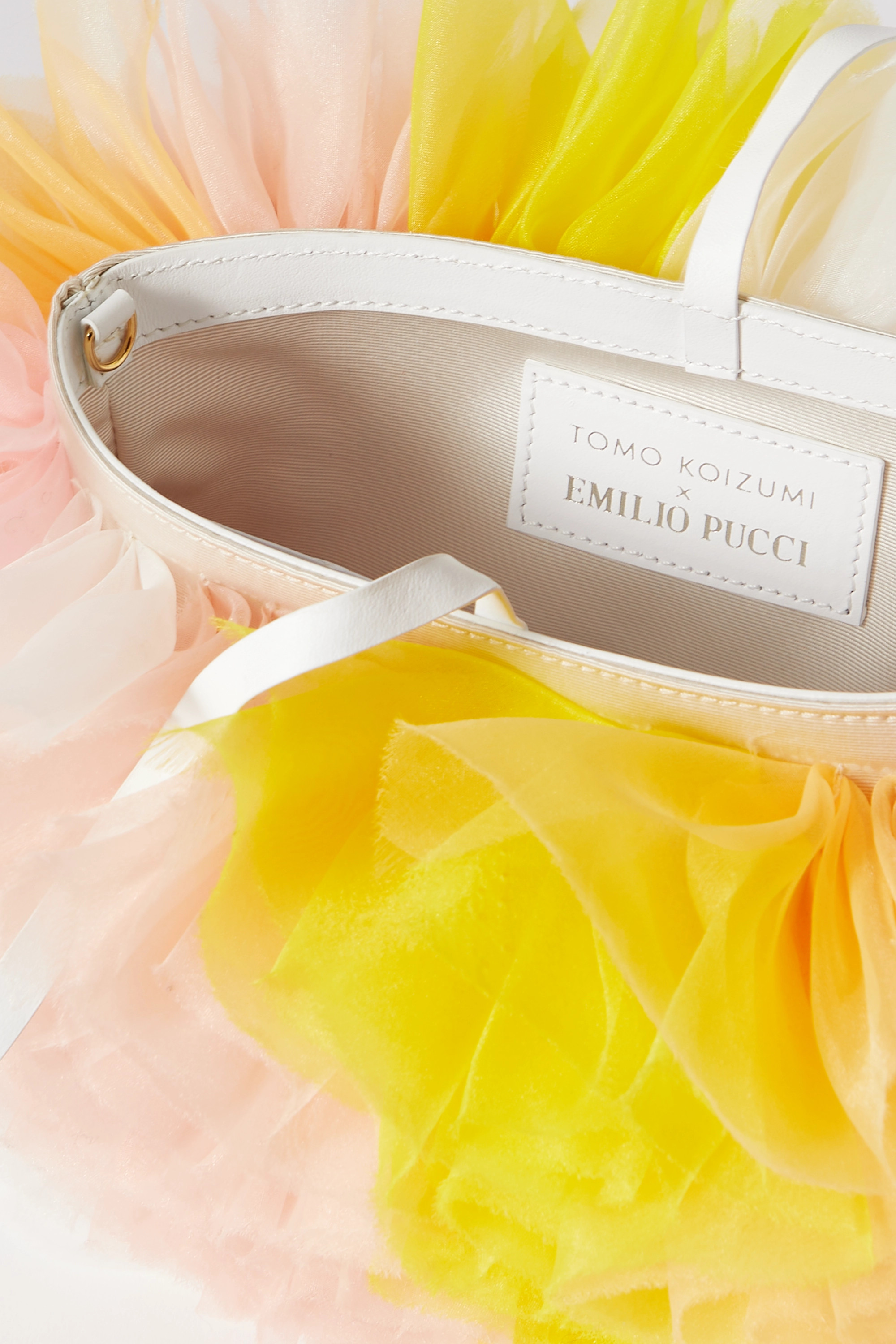 TOMO KOIZUMI X EMILIO PUCCI Leather-trimmed ruffled tulle shoulder bag
