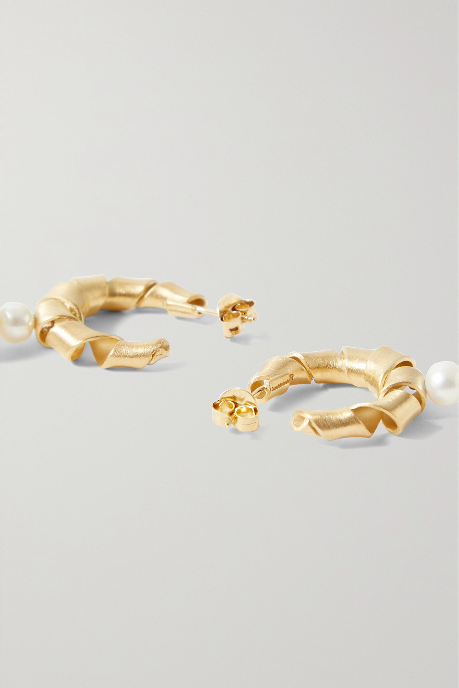COMPLETEDWORKS Wibble, Wobble gold-plated pearl hoop earrings