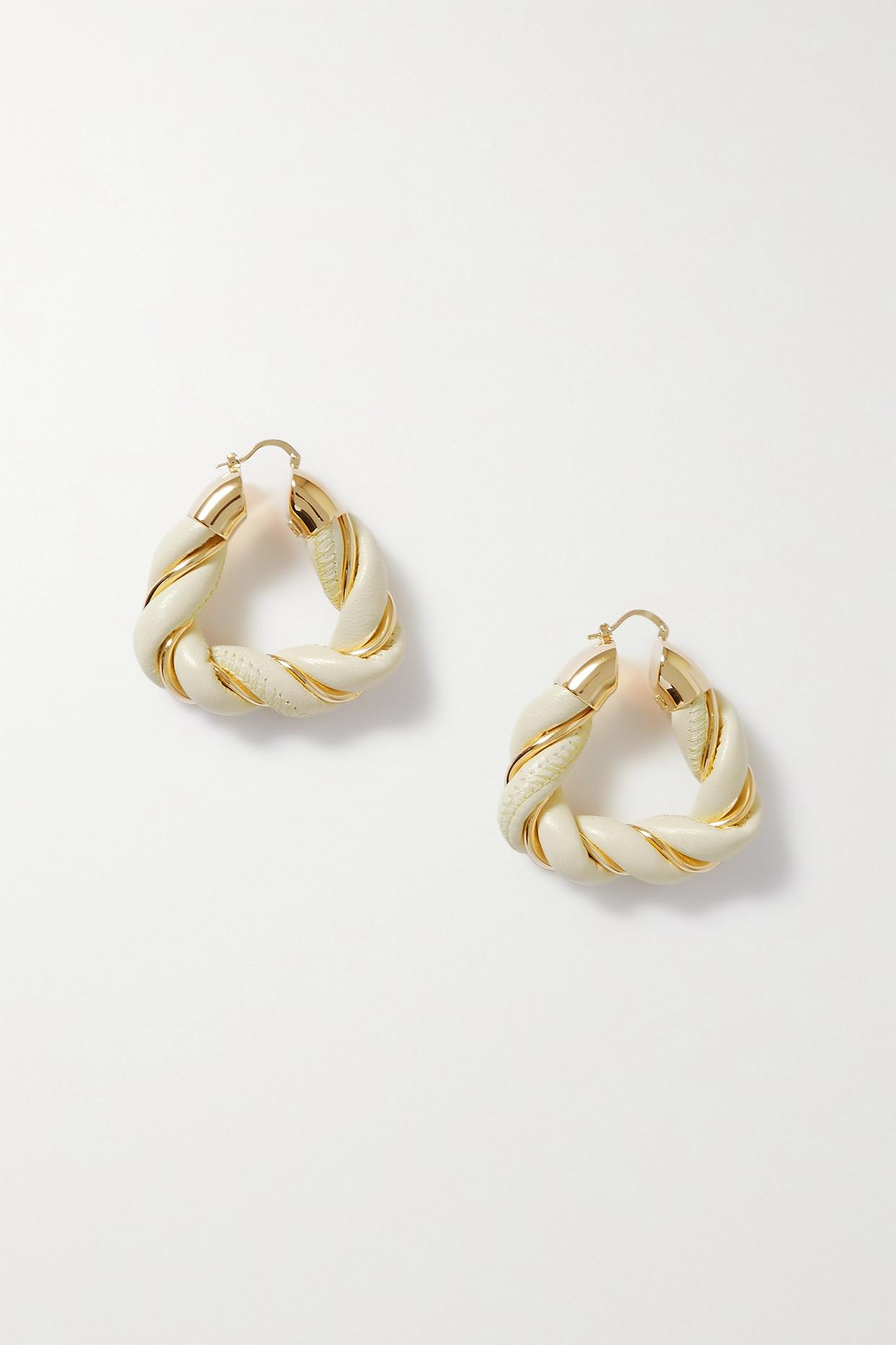 BOTTEGA VENETA - Square Twist Gold-plated And Leather Hoop Earrings - Cream - one size