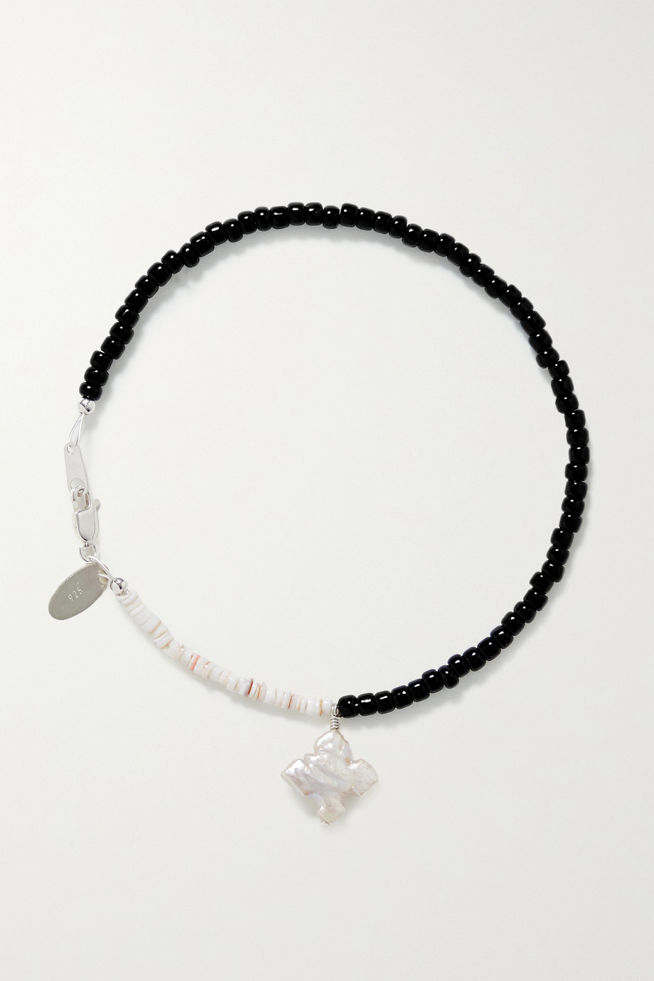 SANTANGELO Pronto silver, pearl, shell and bead anklet