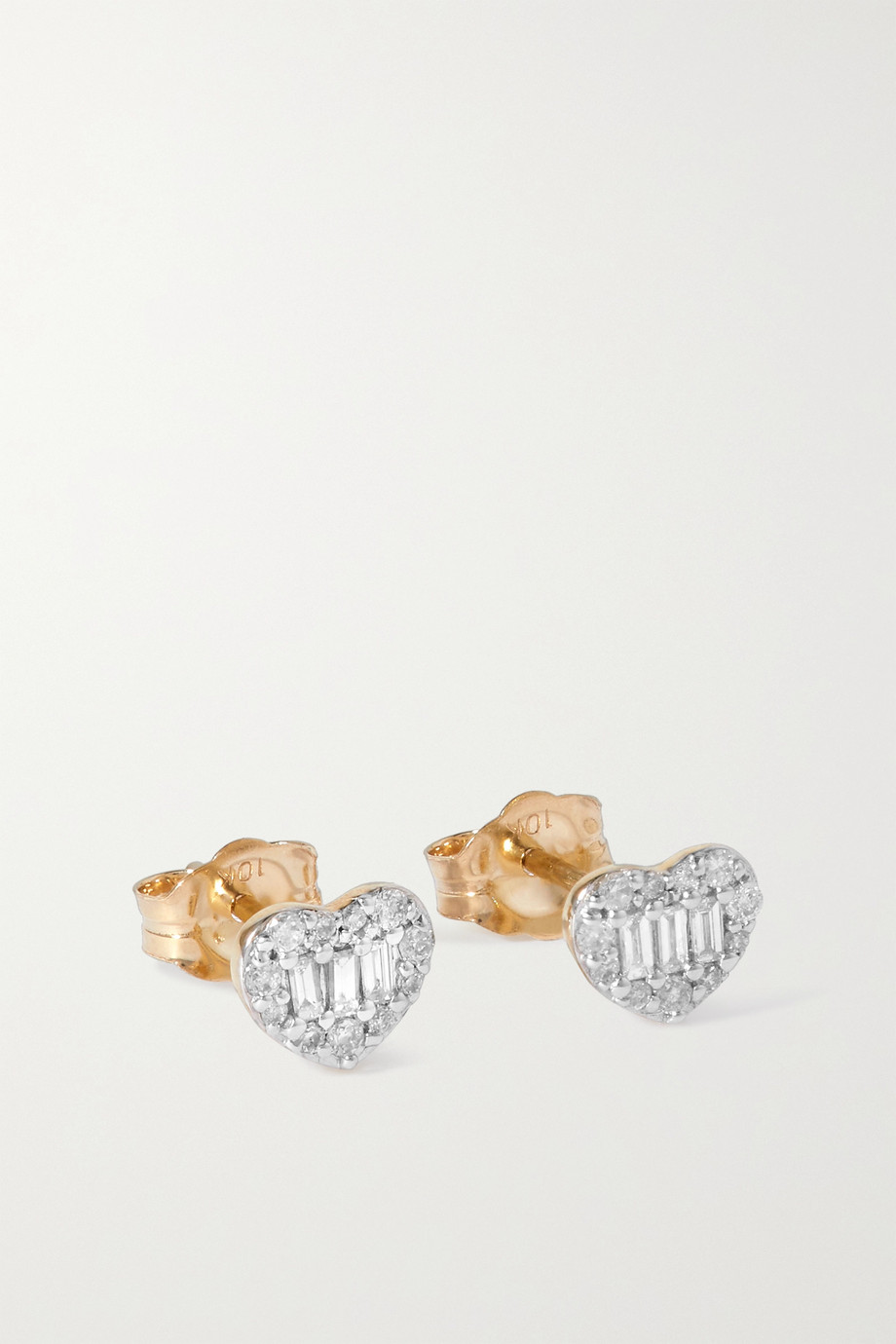 STONE AND STRAND Heart of the Matter gold diamond earrings