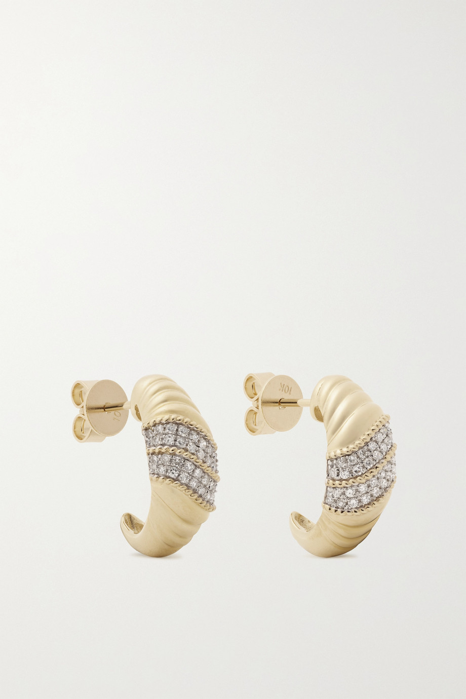 STONE AND STRAND Le Grande Cupola 10-karat gold diamond earrings