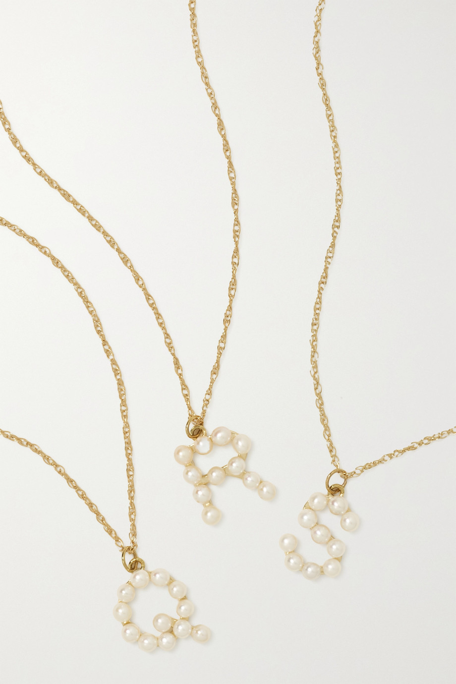 STONE AND STRAND Initial 10-karat gold pearl necklace