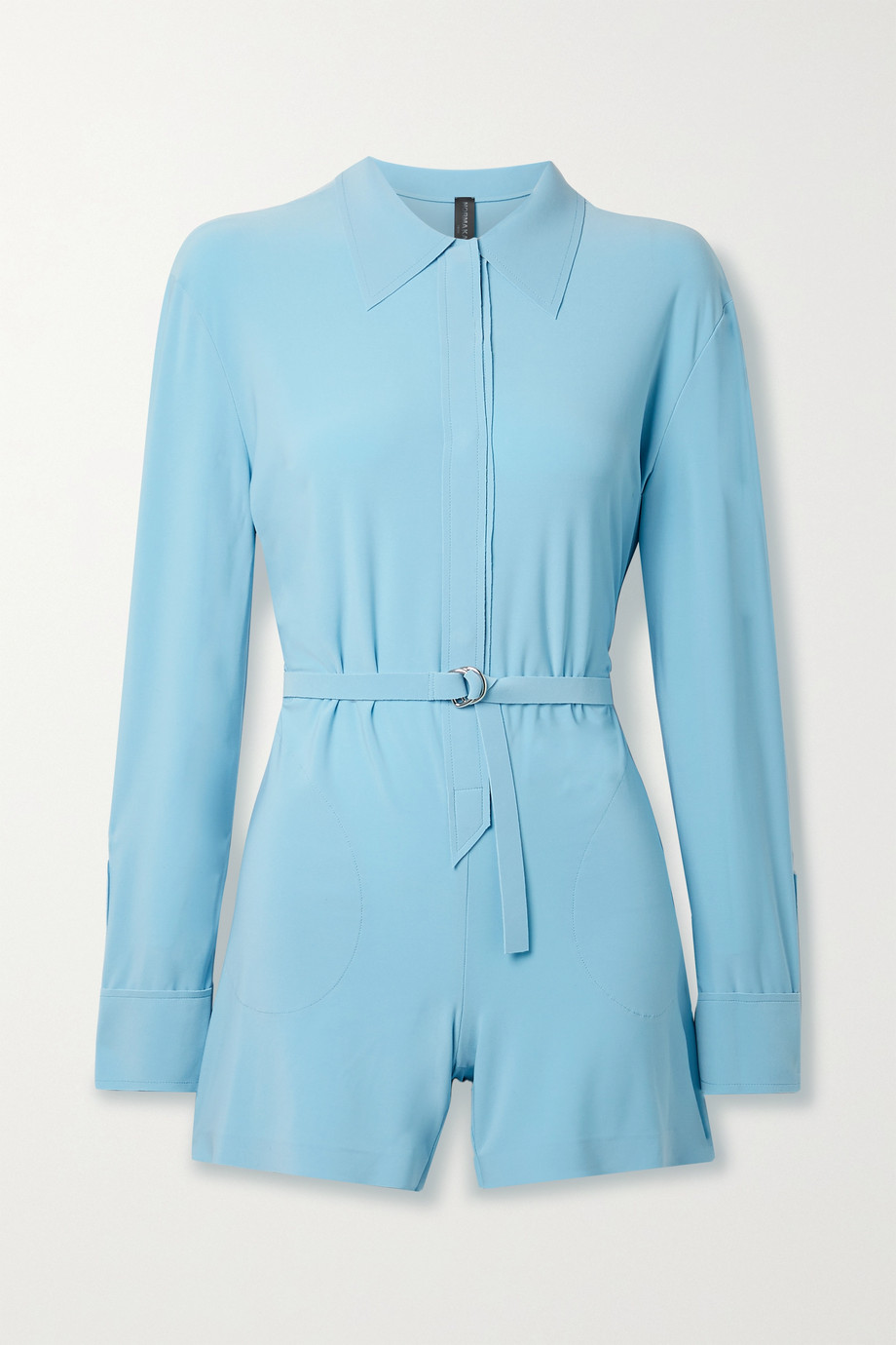 NORMA KAMALI Belted stretch-jersey playsuit