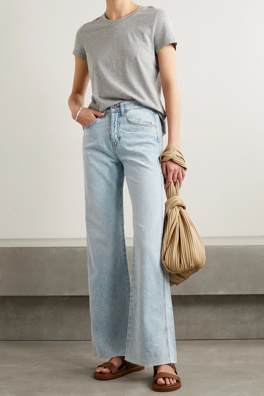 VERONICA BEARD Taylor frayed high-rise wide-leg jeans