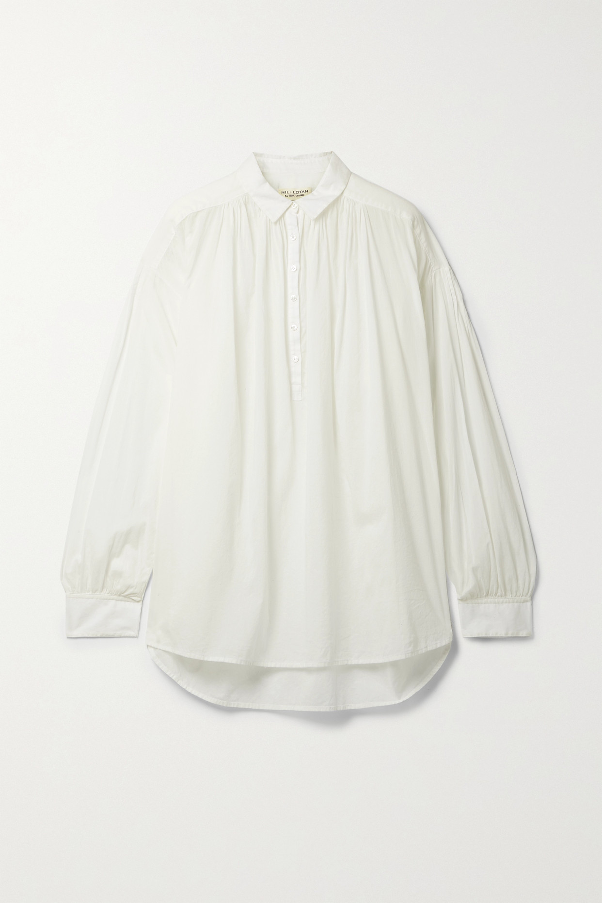 NILI LOTAN - Miles Gathered Cotton-voile Blouse - White - large
