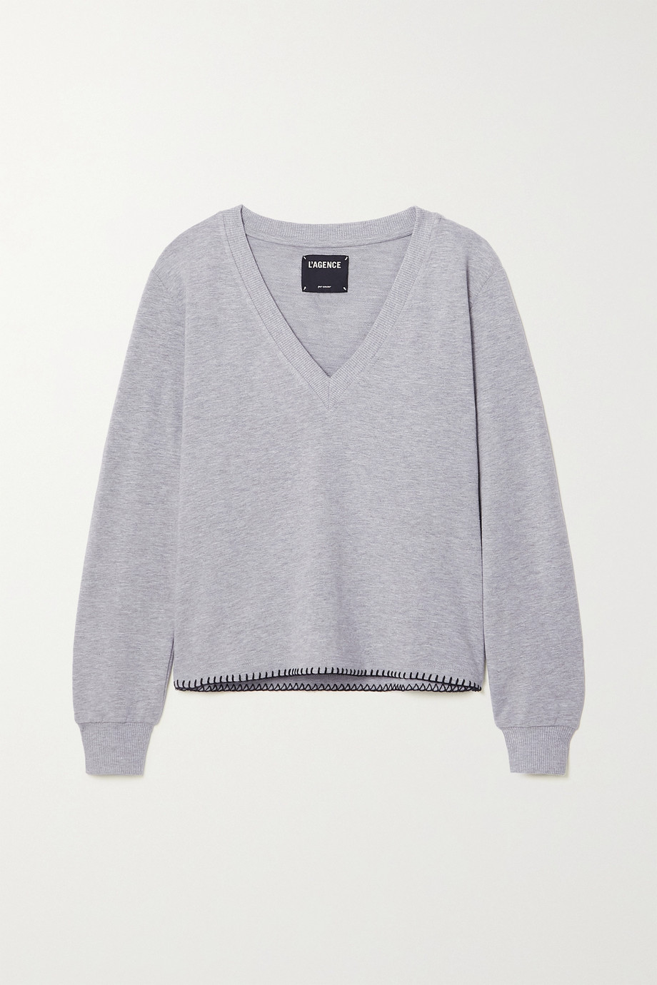 L'AGENCE Helena stretch cotton and modal-blend sweatshirt