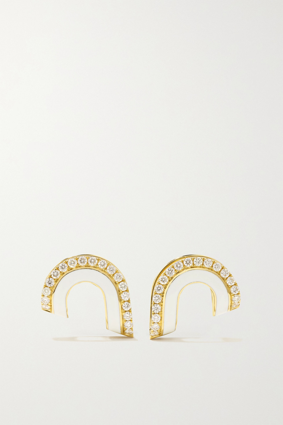 STATE PROPERTY Dias 18-karat gold, enamel and diamond earrings