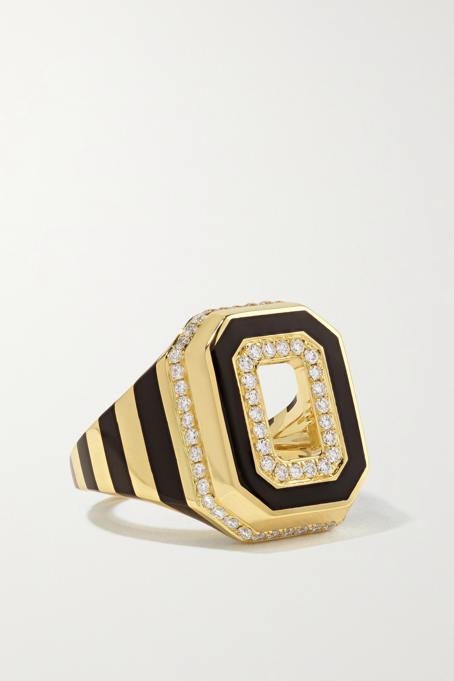 STATE PROPERTY Azar 18-karat gold, enamel and diamond signet ring