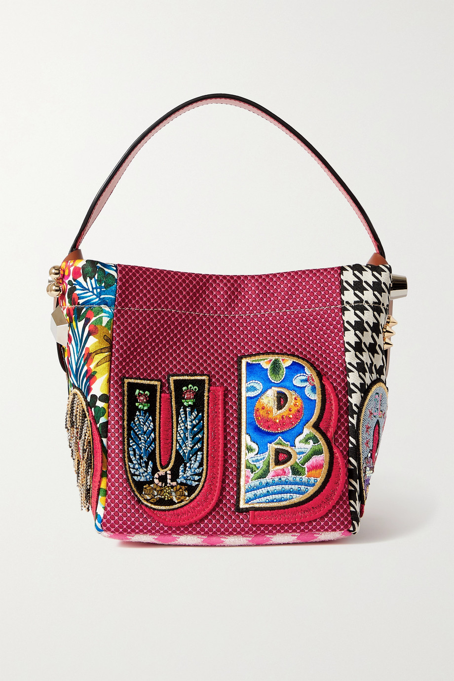 CHRISTIAN LOUBOUTIN Caracaba mini leather-trimmed appliquéd patchwork canvas tote