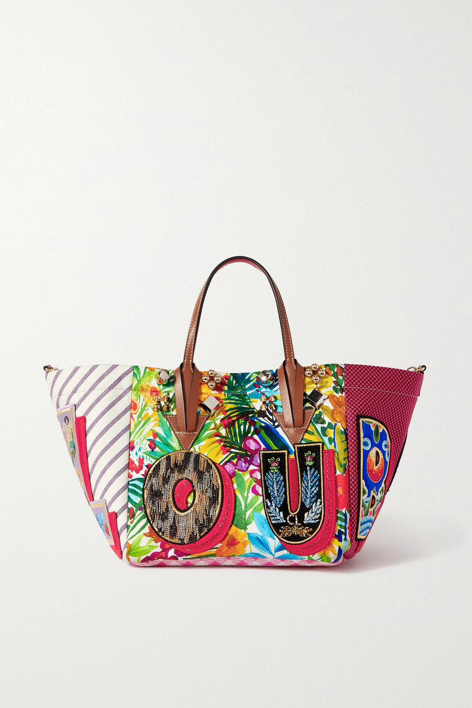 CHRISTIAN LOUBOUTIN Caracaba small leather-trimmed appliquéd patchwork canvas tote