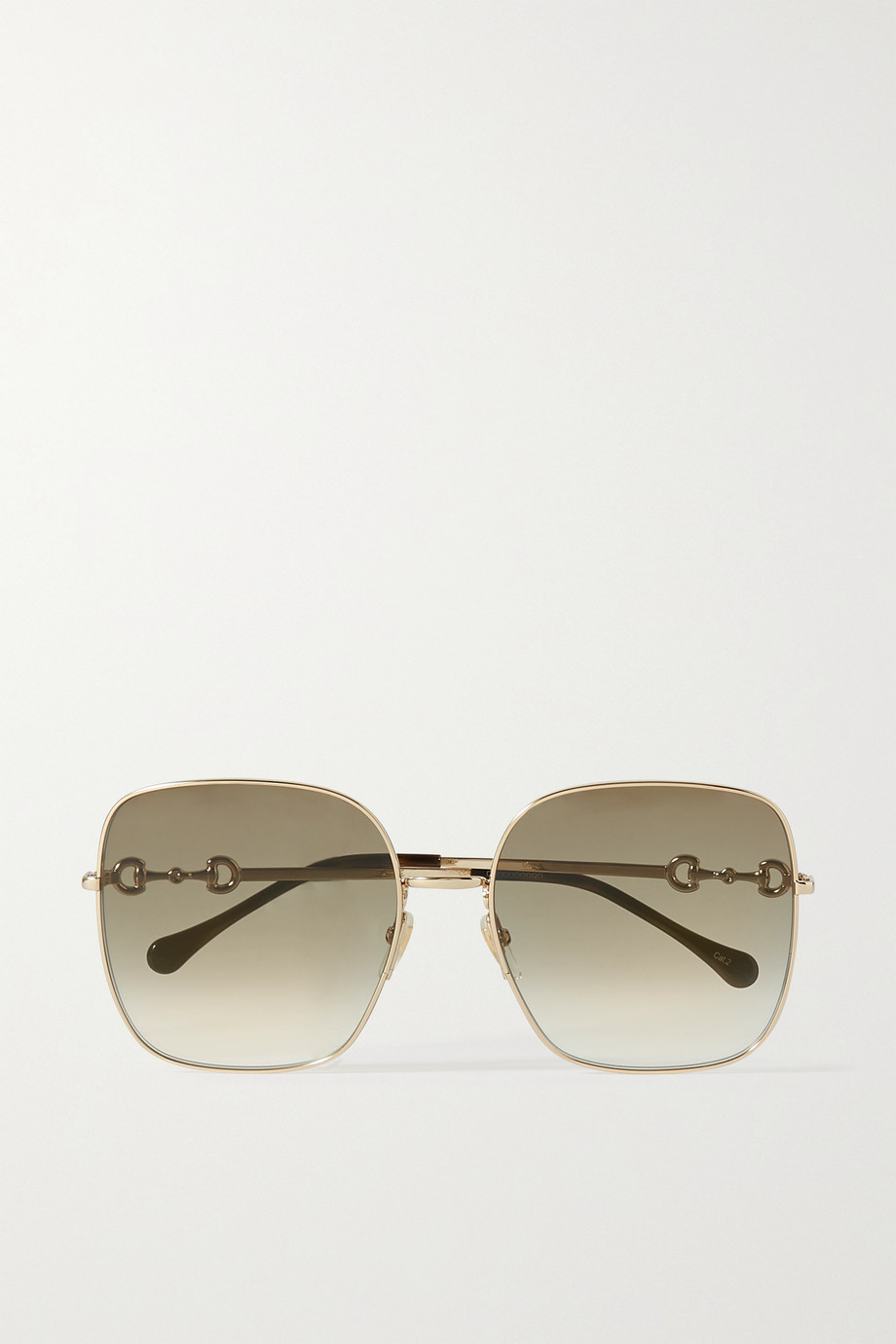 GUCCI Horsebit-detailed square-frame gold-tone sunglasses