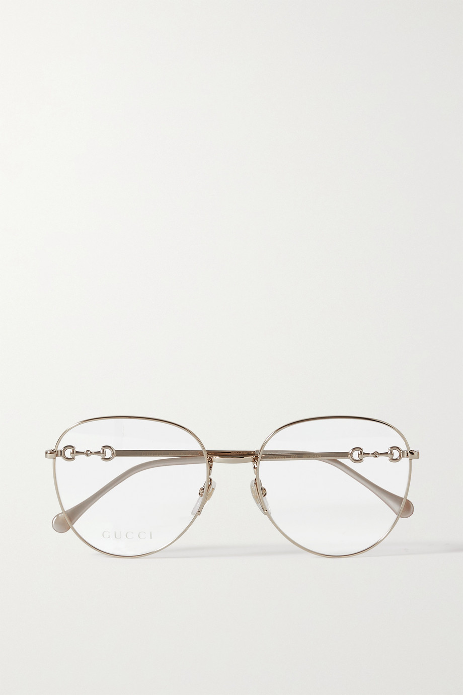 GUCCI Round-frame gold-tone optical glasses