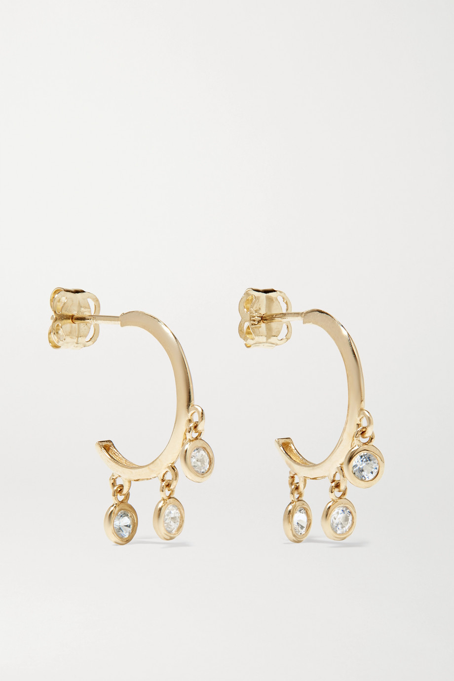 STONE AND STRAND Gold sapphire hoop earrings