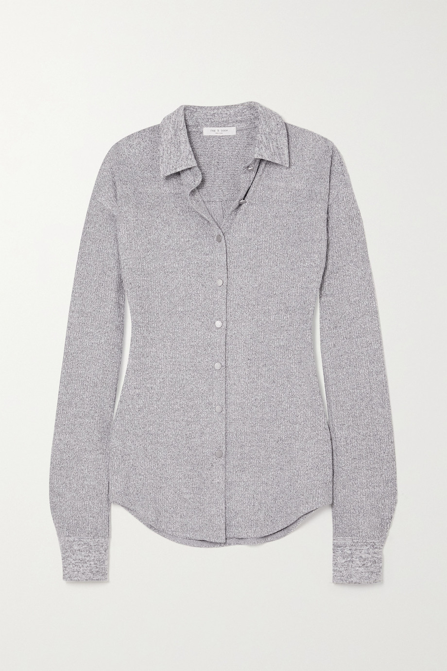 RAG & BONE Ribbed mélange stretch-knit shirt