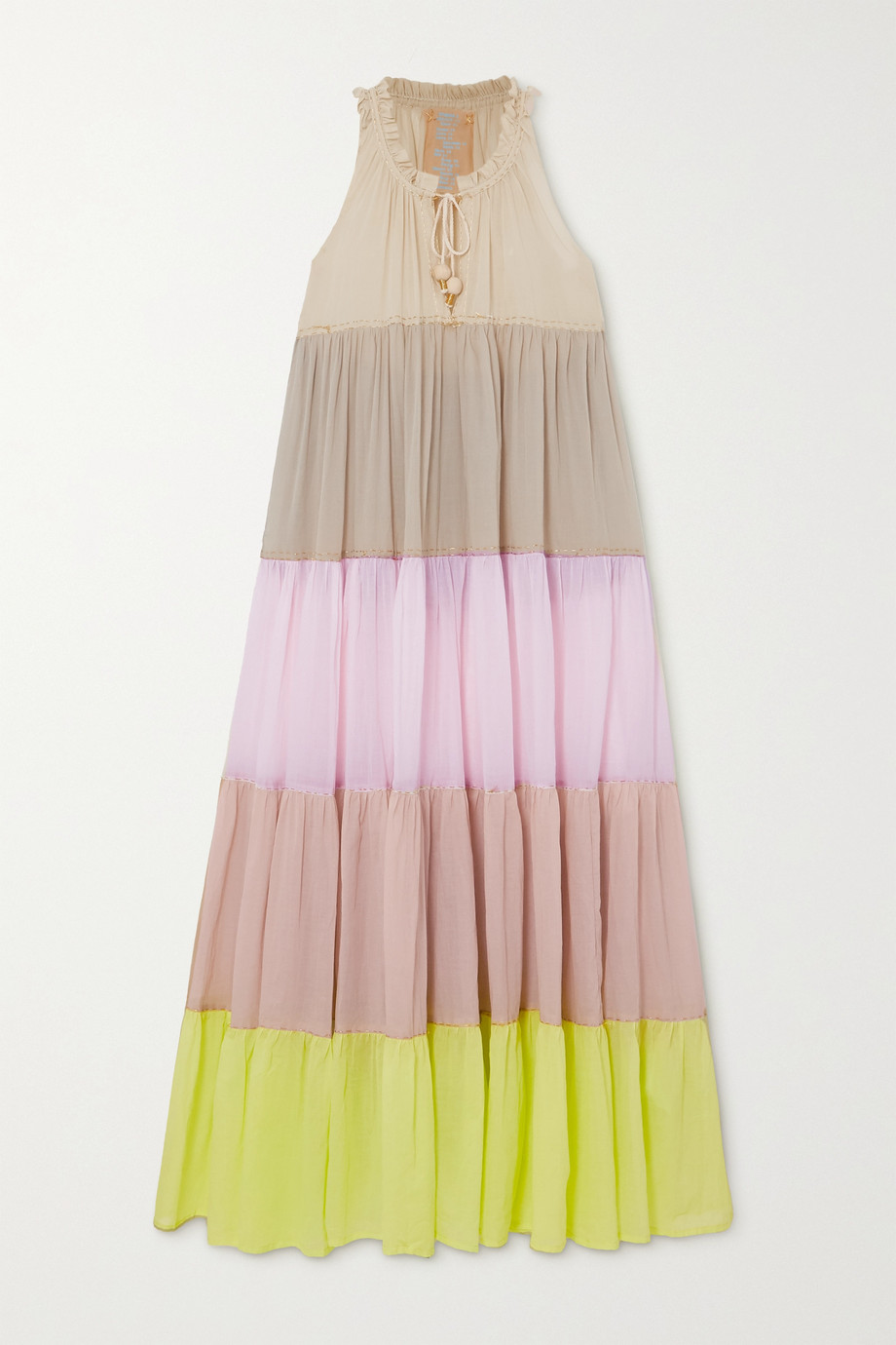 YVONNE S Hippy tiered color-block cotton-voile maxi dress