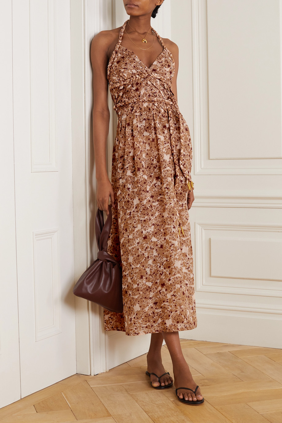 YVONNE S Belted pleated floral-print linen halterneck midi dress