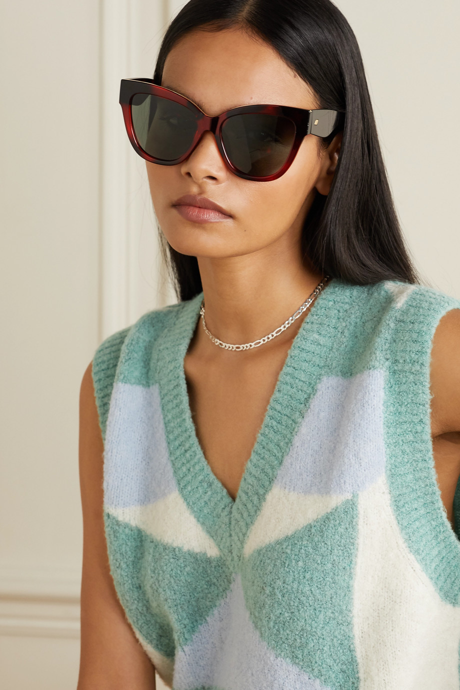 LE SPECS Le Vacanze oversized cat-eye tortoiseshell acetate sunglasses