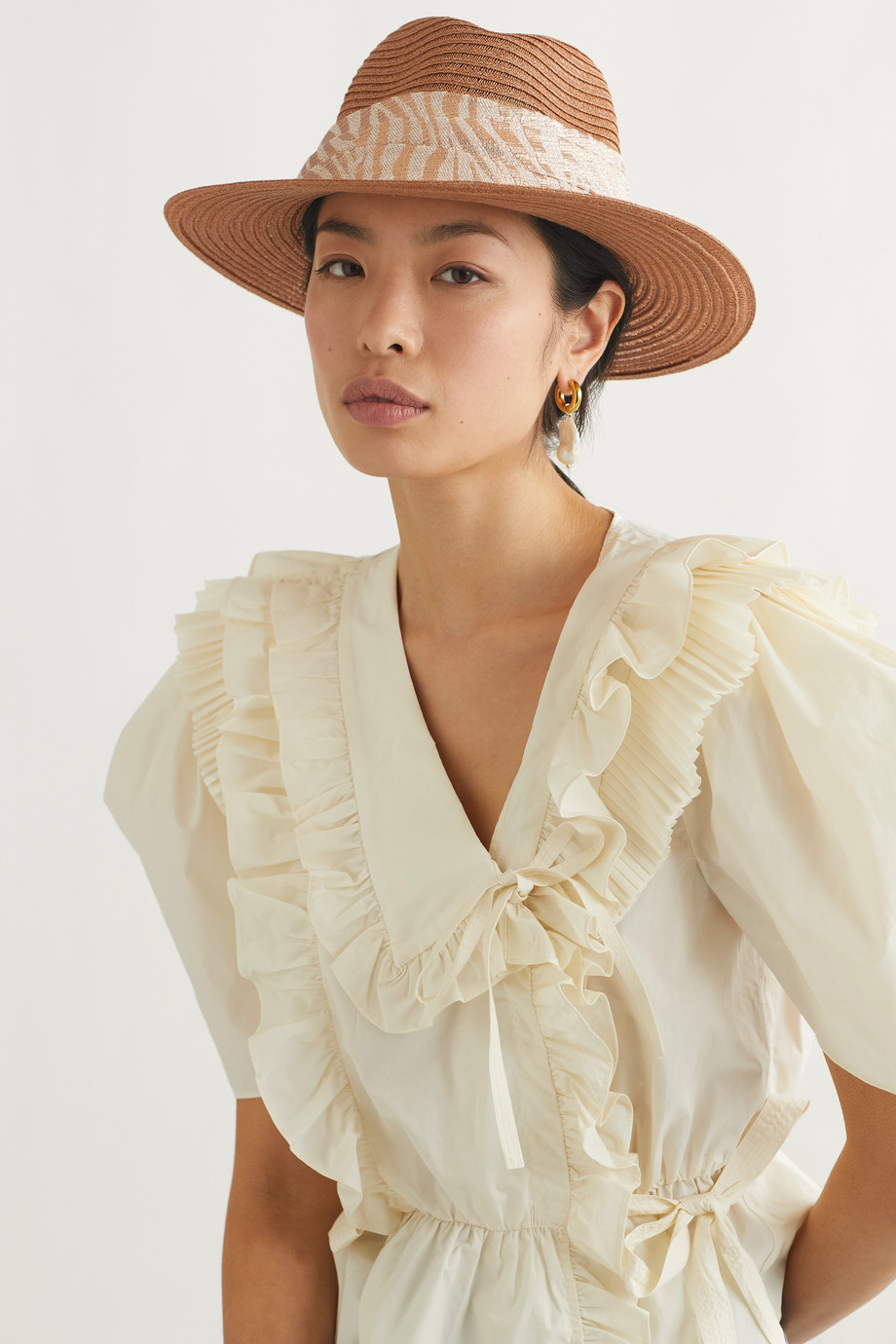 EUGENIA KIM Courtney jacquard-trimmed hemp-blend hat