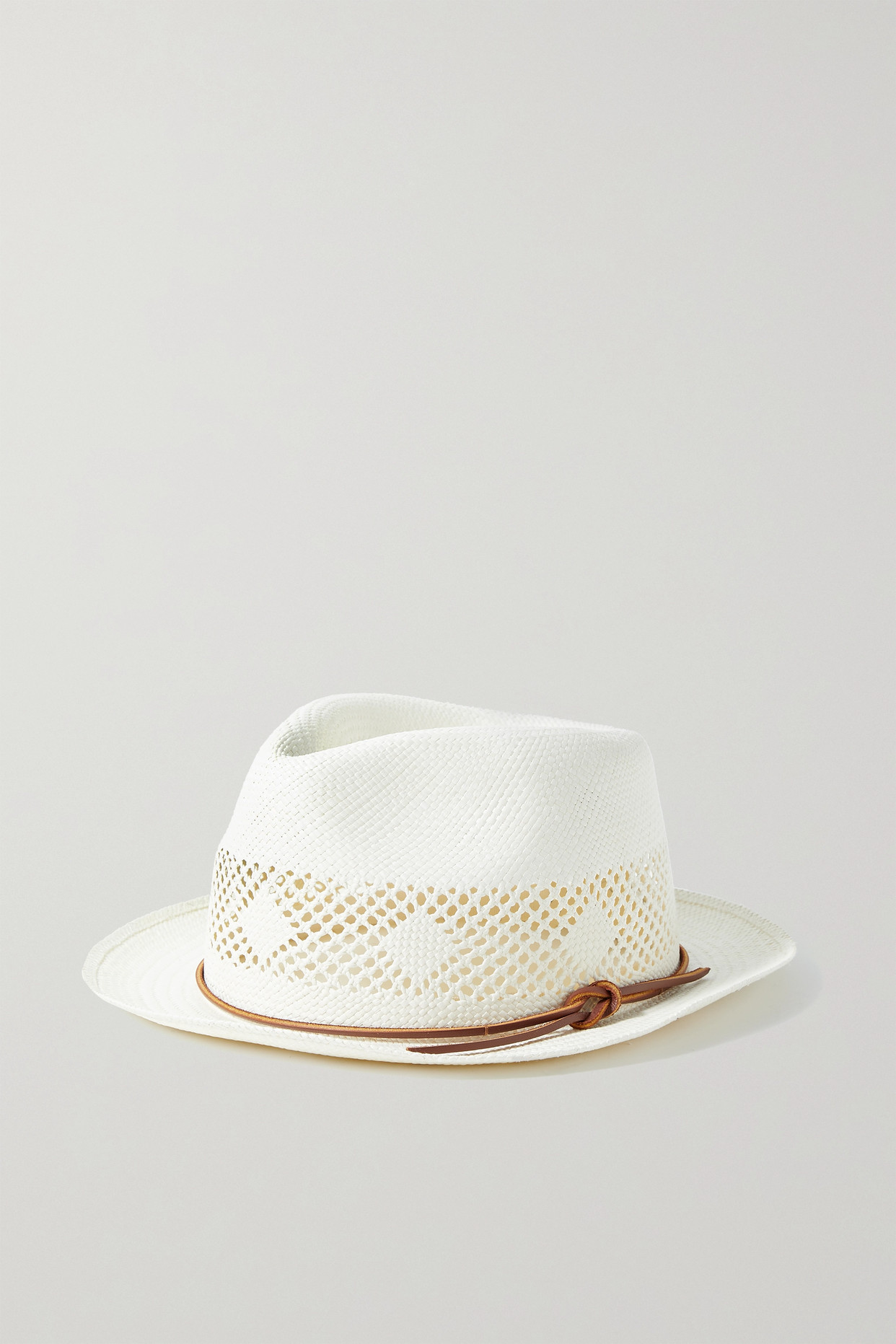 RAG & BONE - Trilby Leather-trimmed Straw Panama Hat - Off-white - L