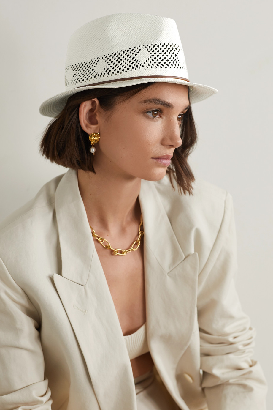 RAG & BONE Trilby leather-trimmed straw Panama hat