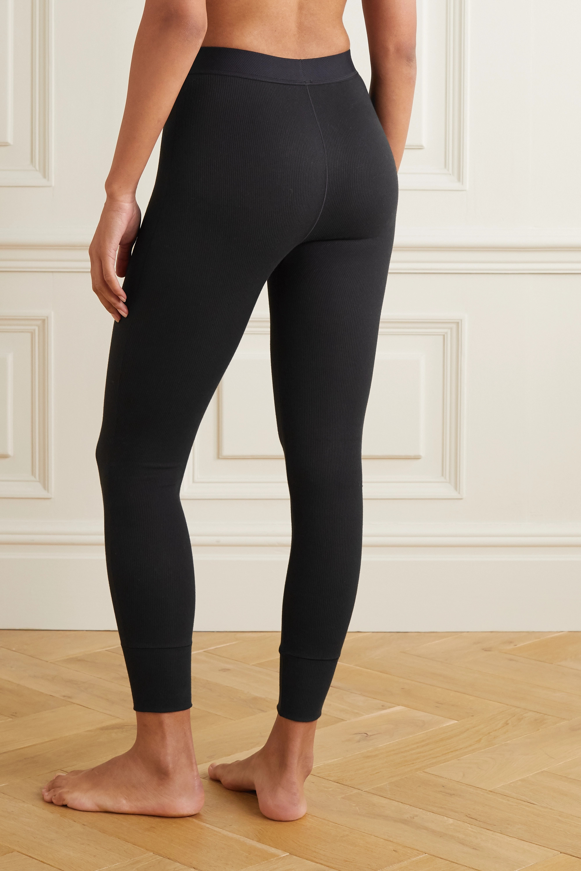SKIMS Thermal ribbed cotton-blend leggings - Soot