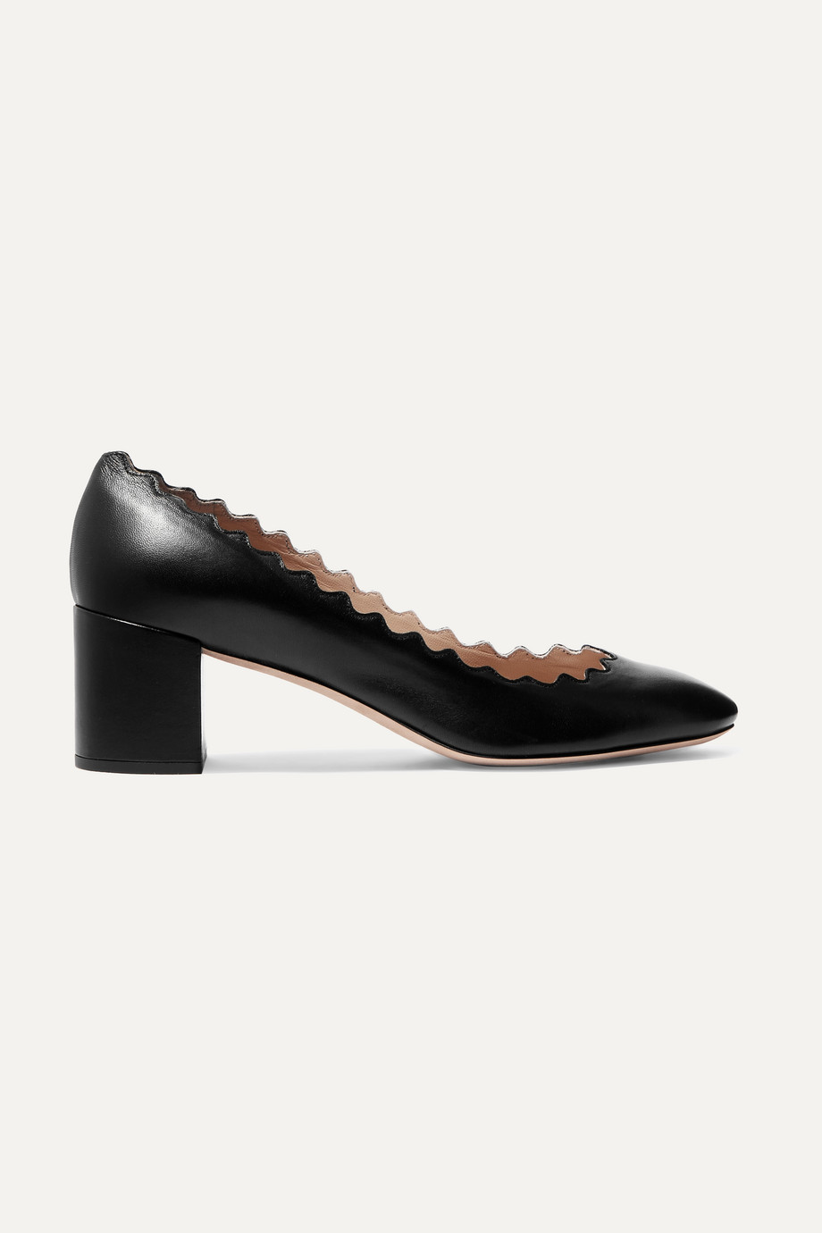 CHLOÉ Lauren scalloped leather pumps
