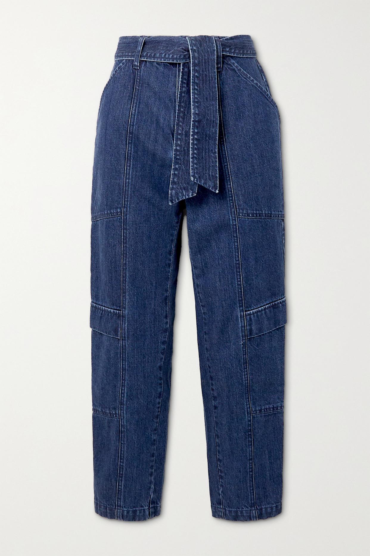 J BRAND - Athena 配腰带高腰锥形牛仔裤 - 蓝色 - 32