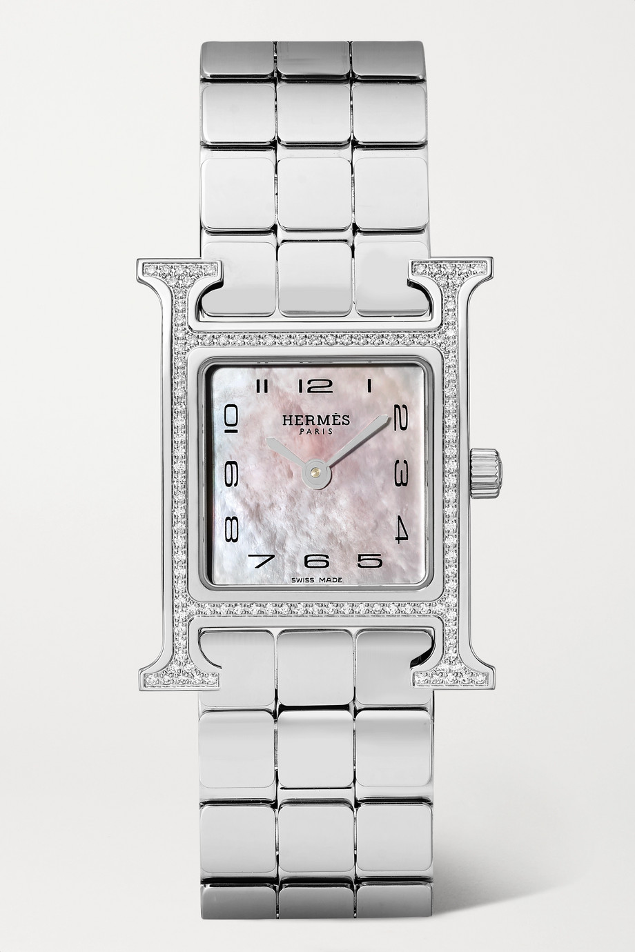 HERMÈS TIMEPIECES Heure H 21mm small stainless steel, mother-of-pearl and diamond watch