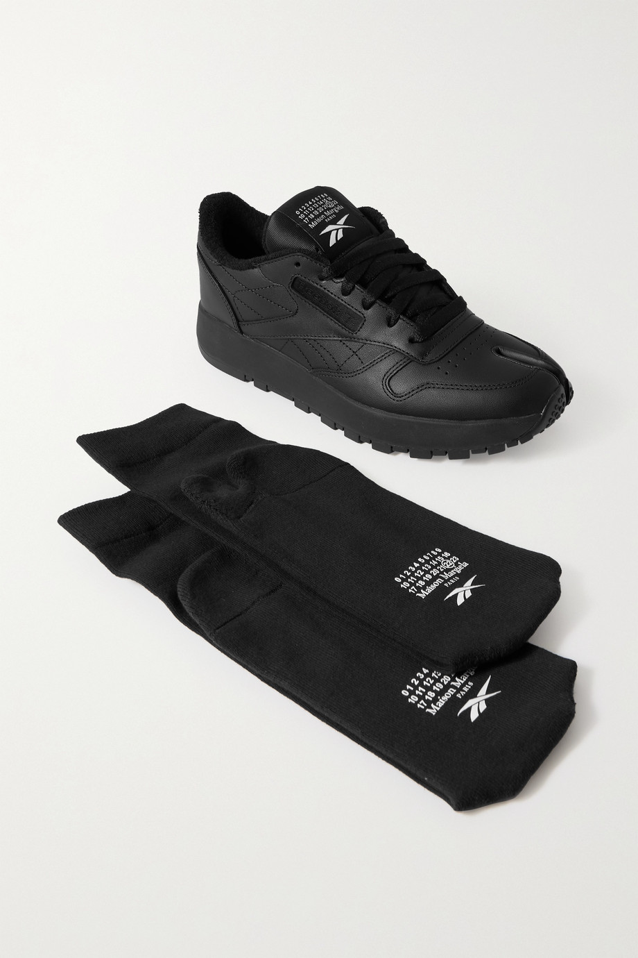 REEBOK + Maison Margiela Tabi split-toe leather sneakers and cotton-blend socks set