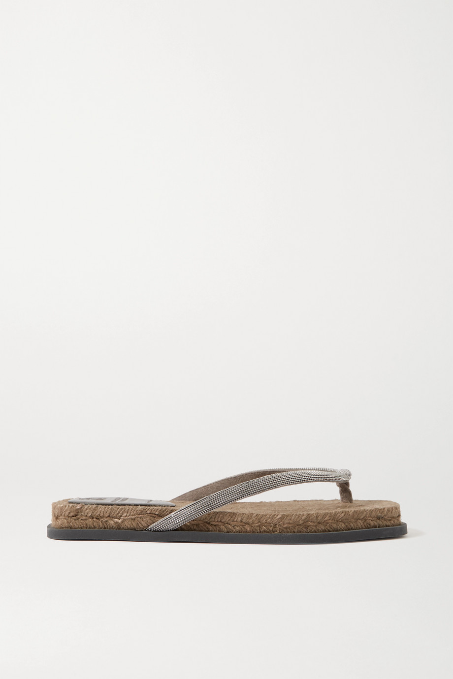 BRUNELLO CUCINELLI Beaded leather espadrille flip flops