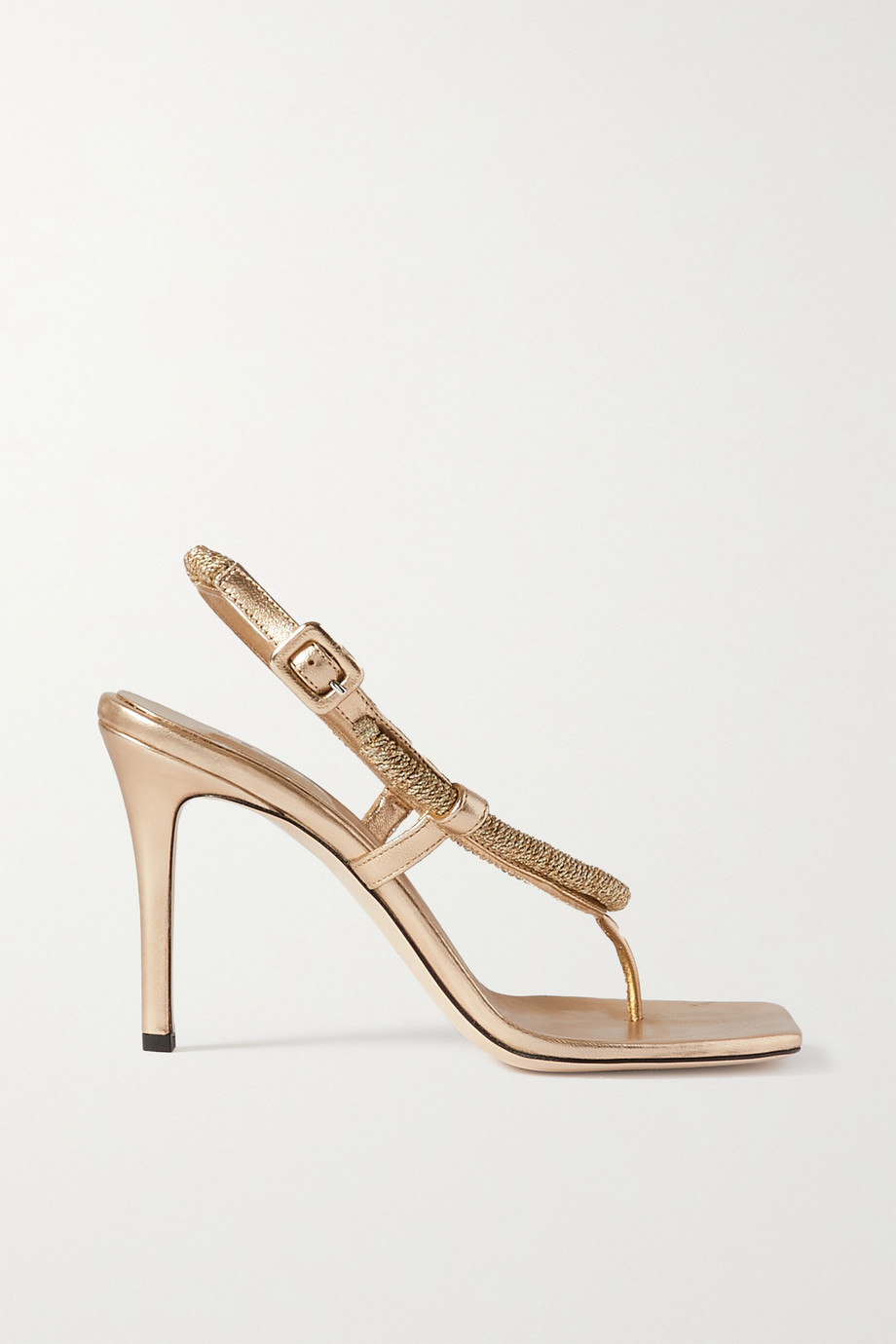 SERENA UZIYEL Iris metallic rope and faux leather sandals
