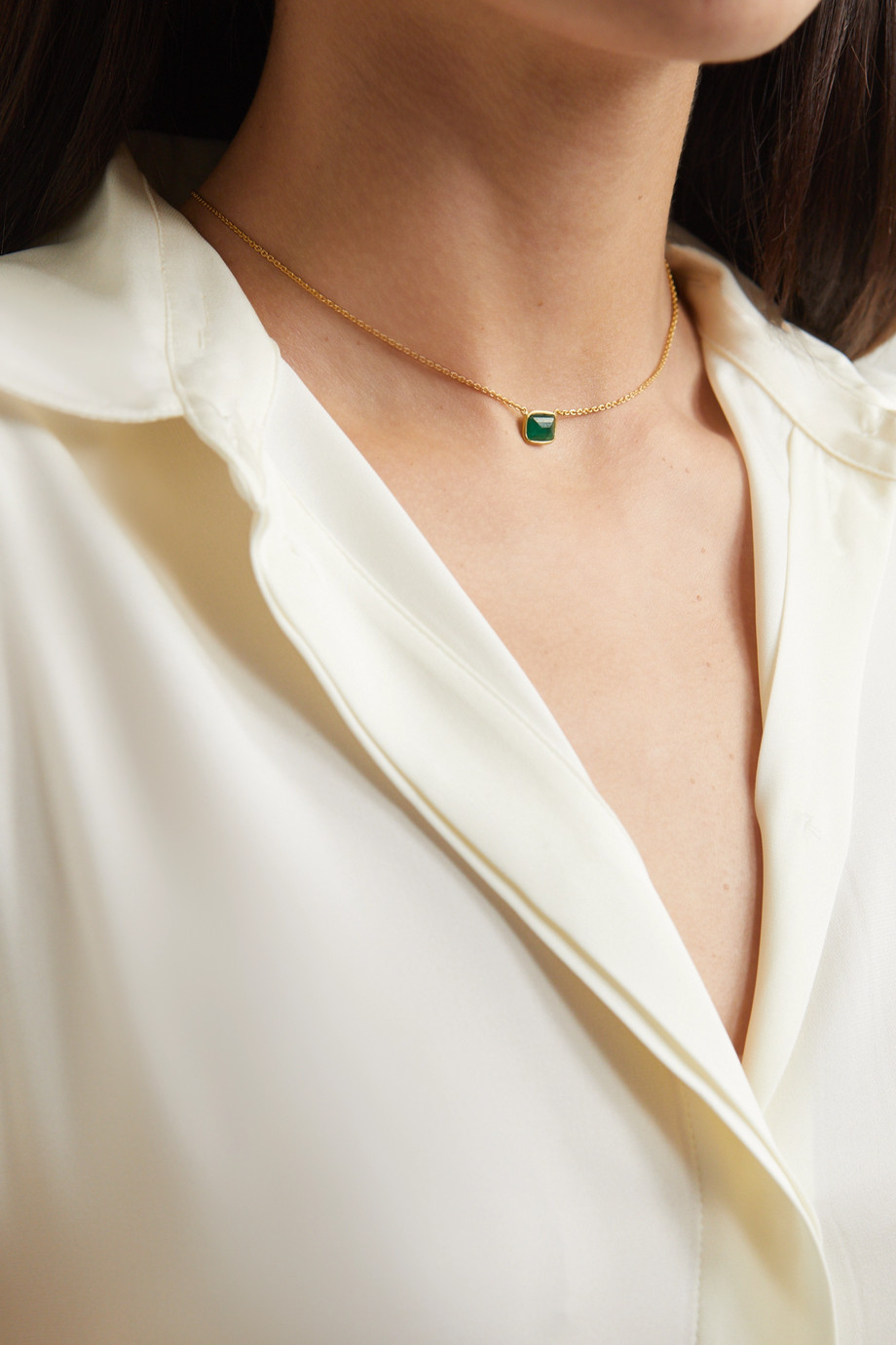 PIPPA SMALL 18-karat gold emerald necklace