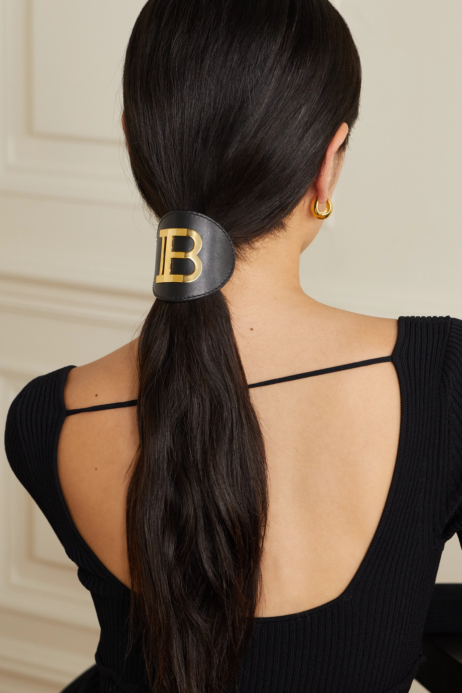 BALMAIN PARIS HAIR COUTURE Leather and gold-plated hair clip