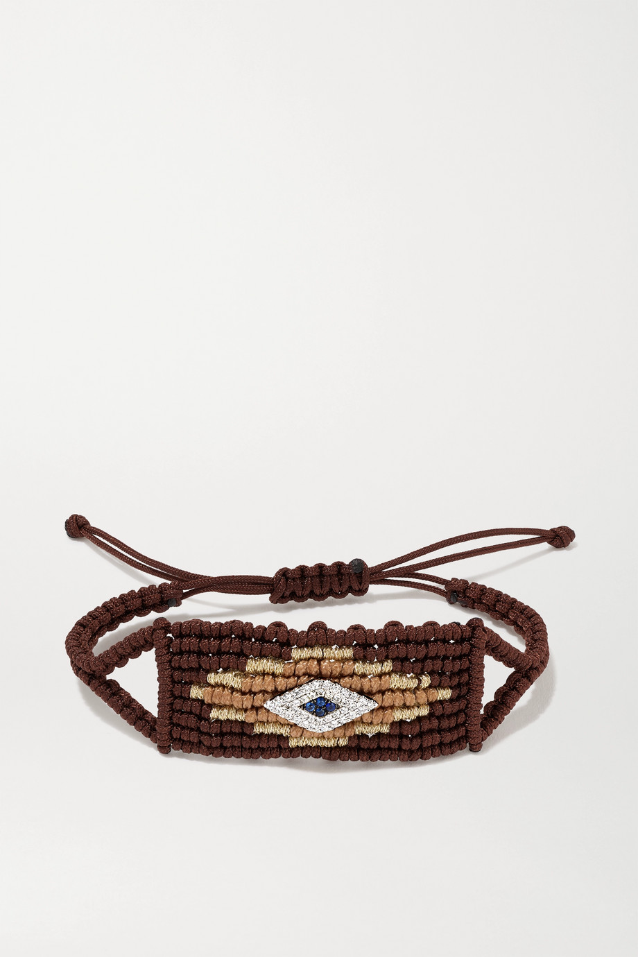 DIANE KORDAS Evil Eye woven cord and 14-karat white gold diamond and sapphire bracelet