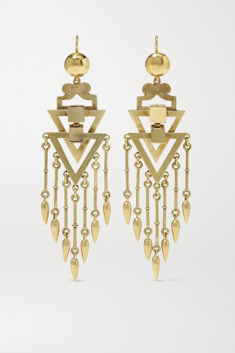 FRED LEIGHTON Victorian 14-karat gold earrings