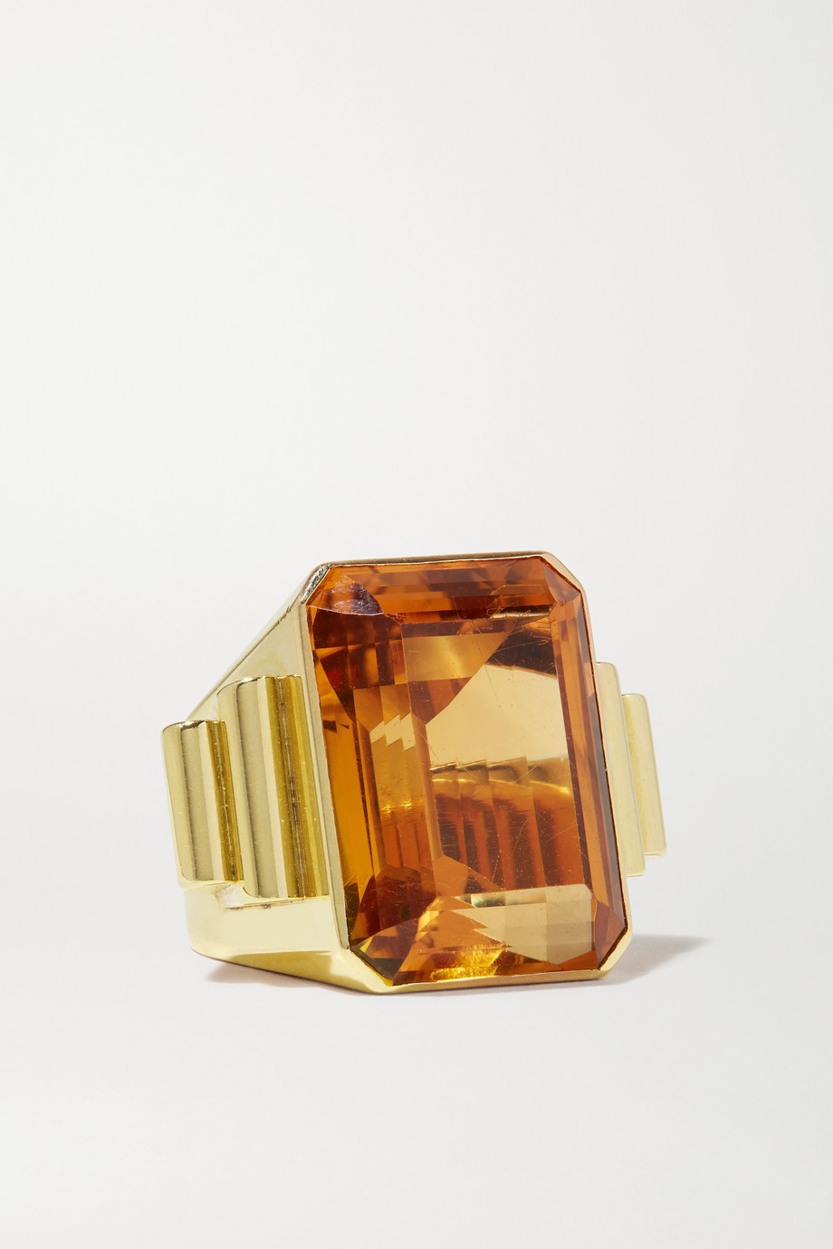 FRED LEIGHTON 1940s 18-karat gold citrine ring