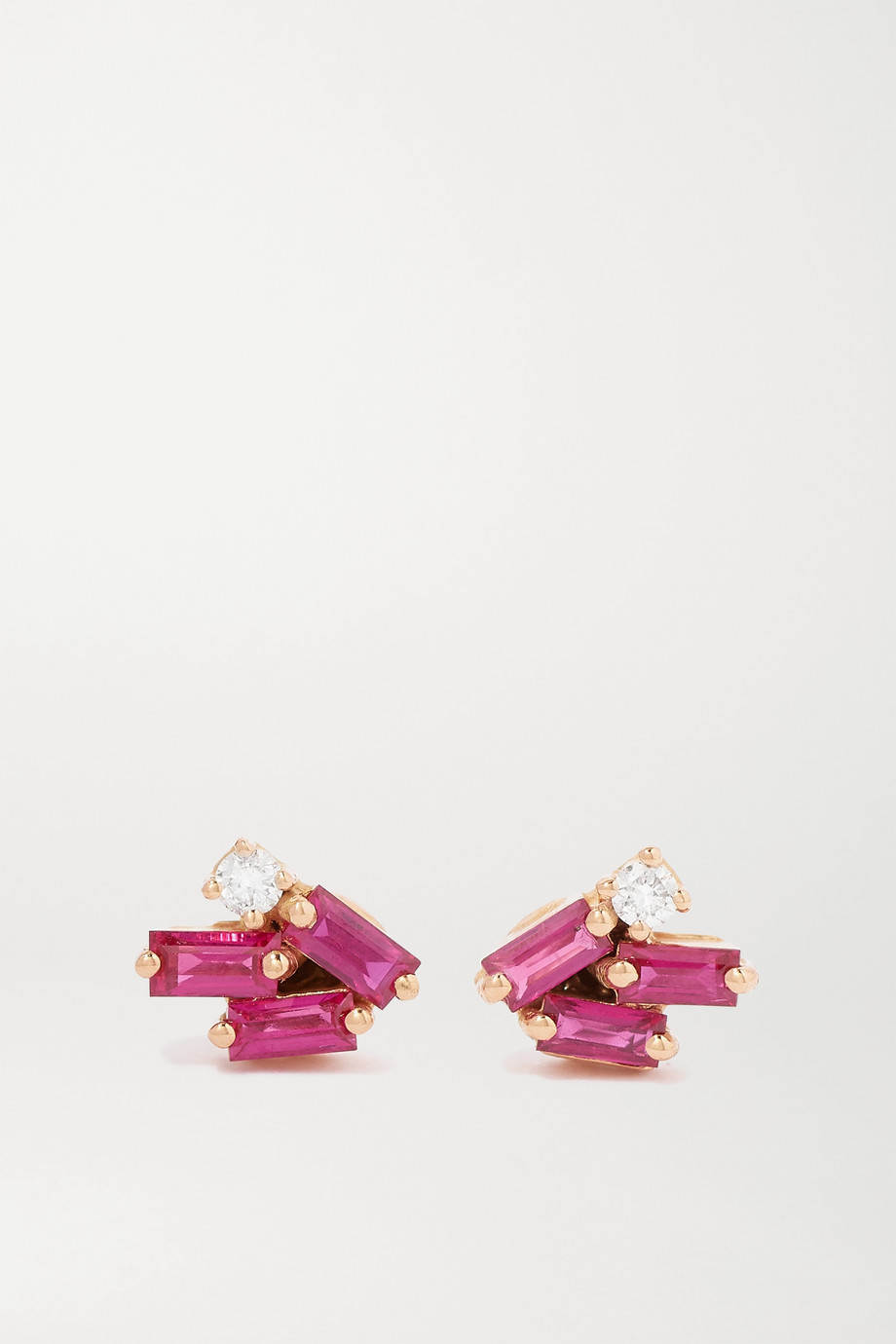 SUZANNE KALAN 18-karat rose gold, ruby and diamond earrings