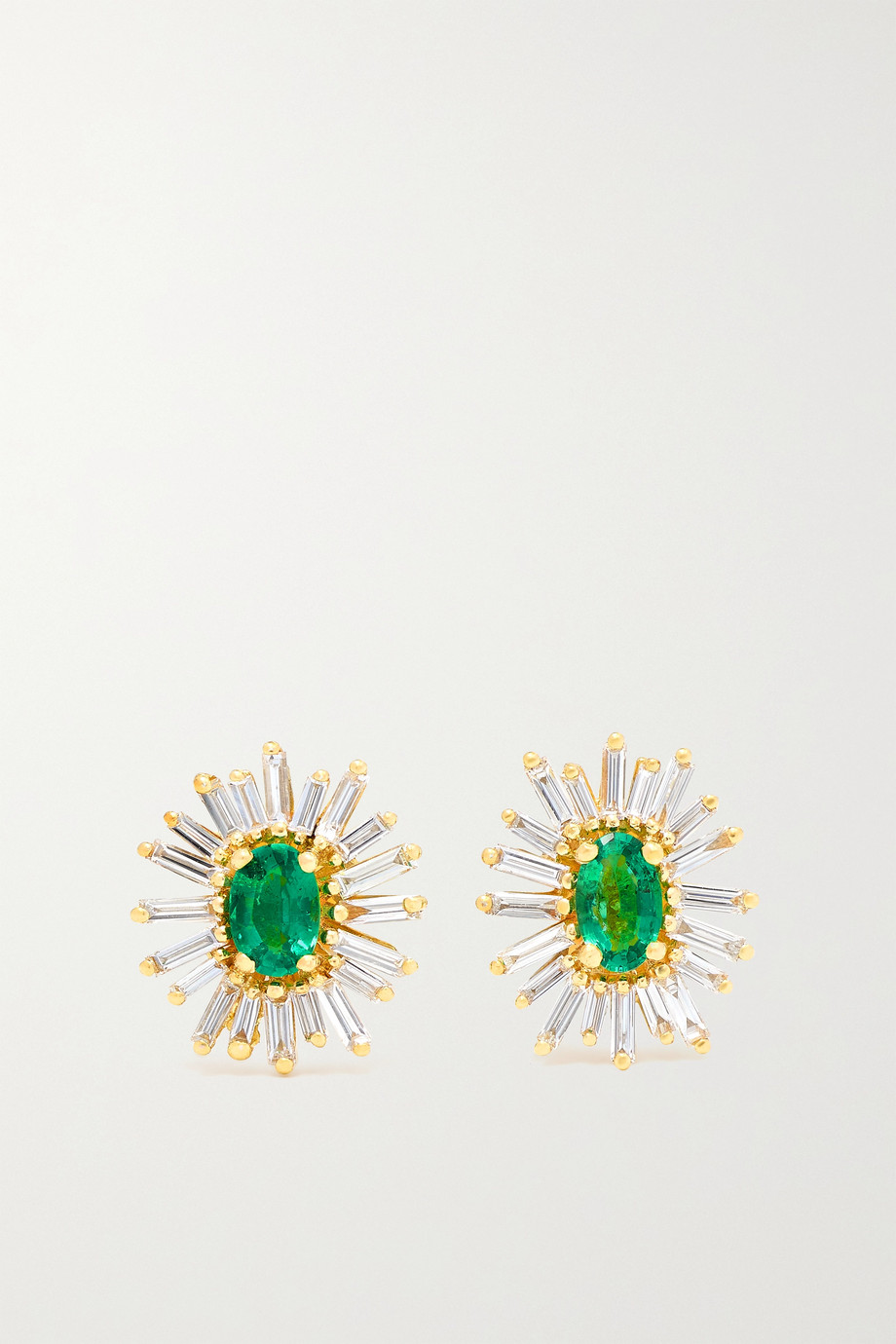 SUZANNE KALAN 18-karat gold, diamond and emerald earrings