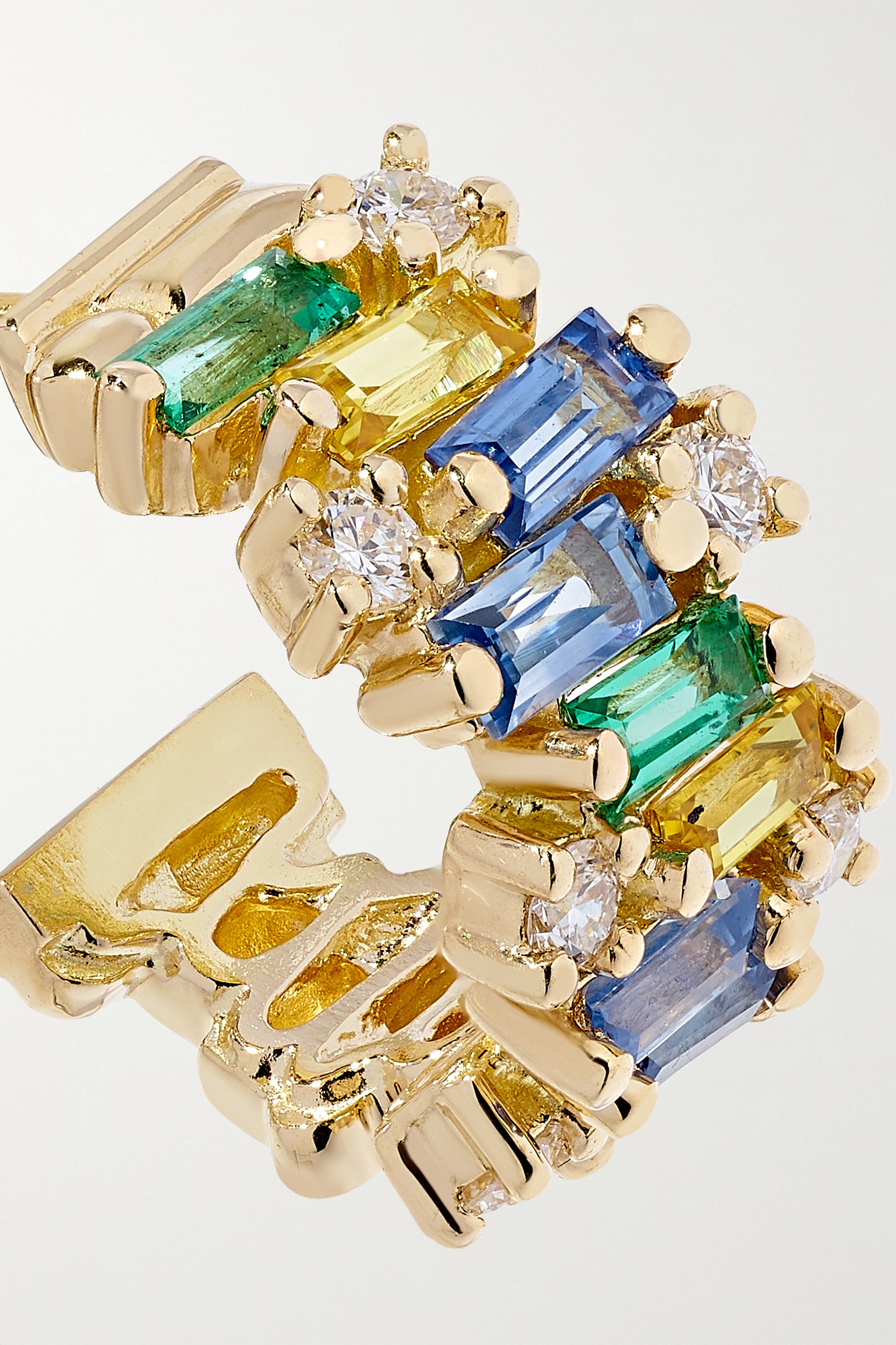 SUZANNE KALAN 18-karat gold sapphire, emerald and diamond hoop earrings