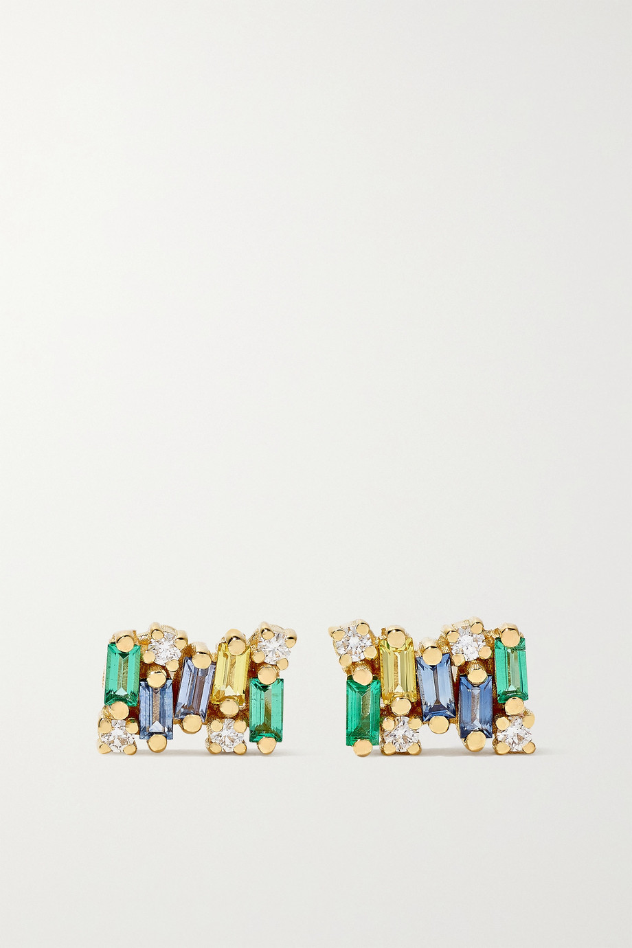 SUZANNE KALAN 18-karat gold sapphire, emerald and diamond earrings