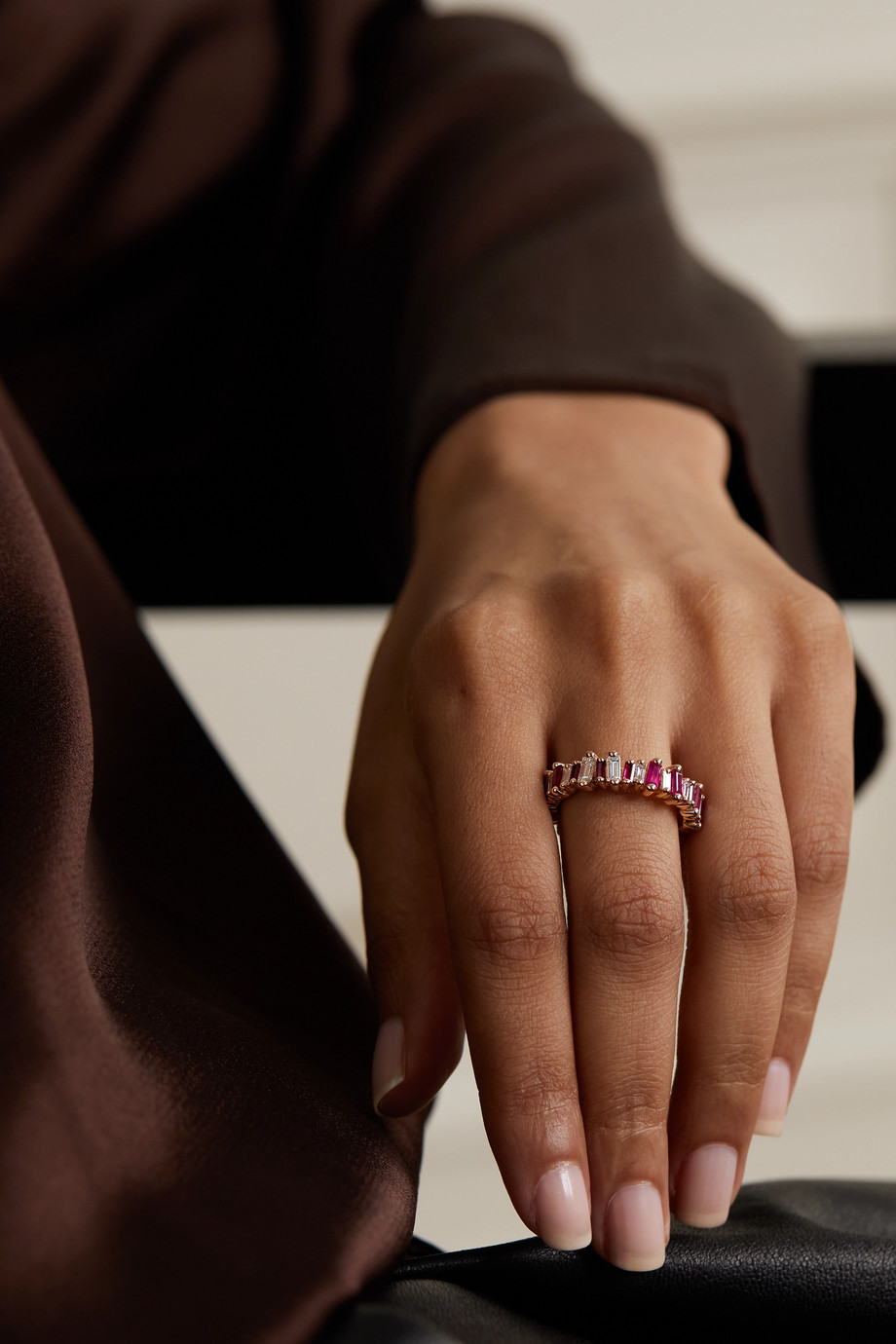 SUZANNE KALAN Eternity 18-karat rose gold, ruby and diamond ring