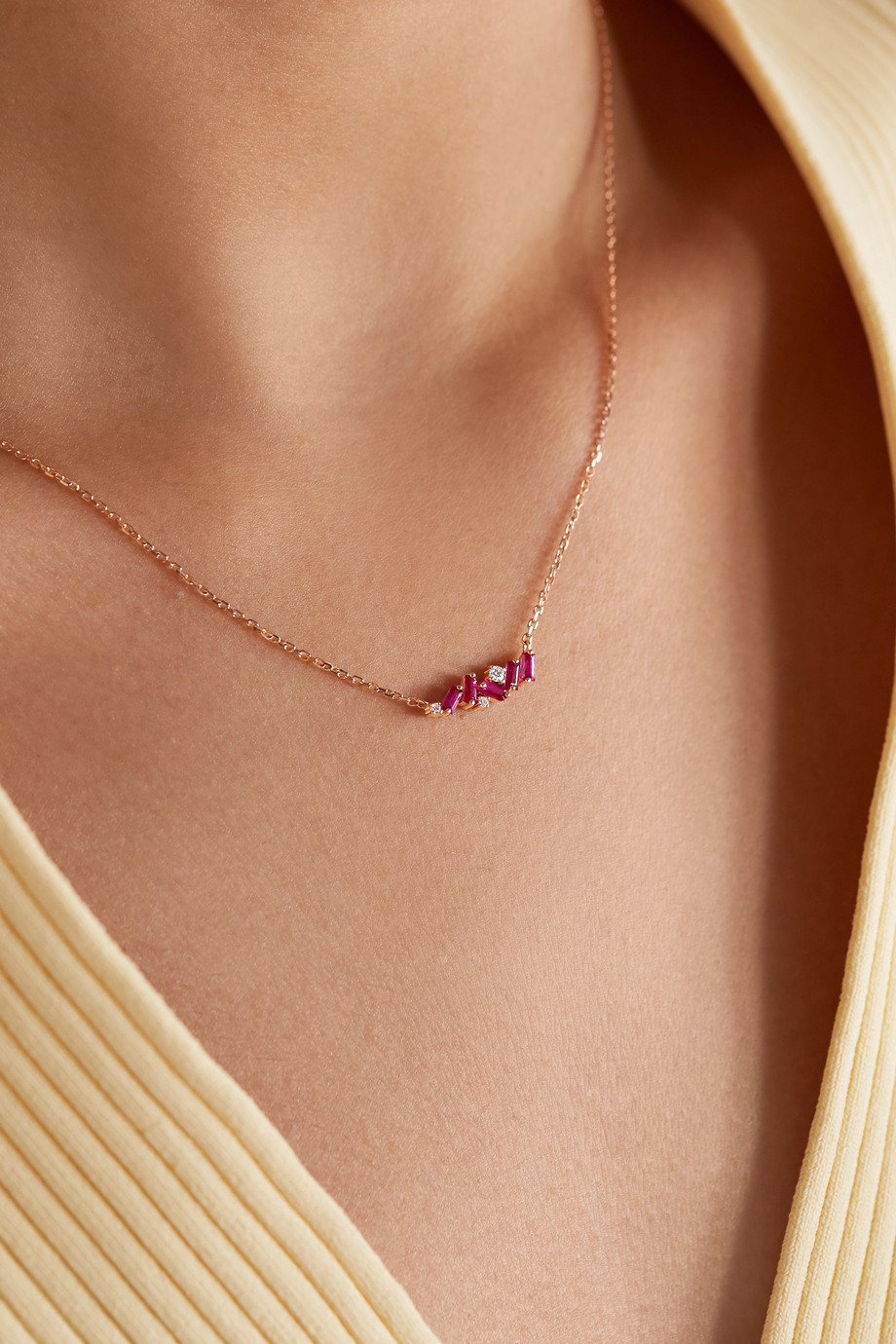 SUZANNE KALAN 18-karat rose gold, ruby and diamond necklace