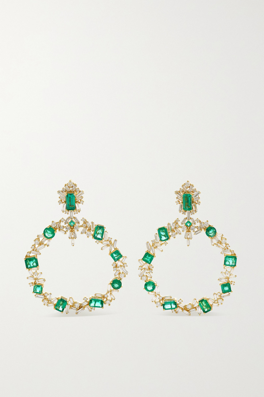 SUZANNE KALAN 18-karat gold, emerald and diamond earrings