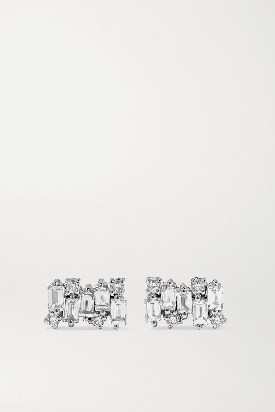 SUZANNE KALAN Shimmer 18-karat white gold diamond earrings