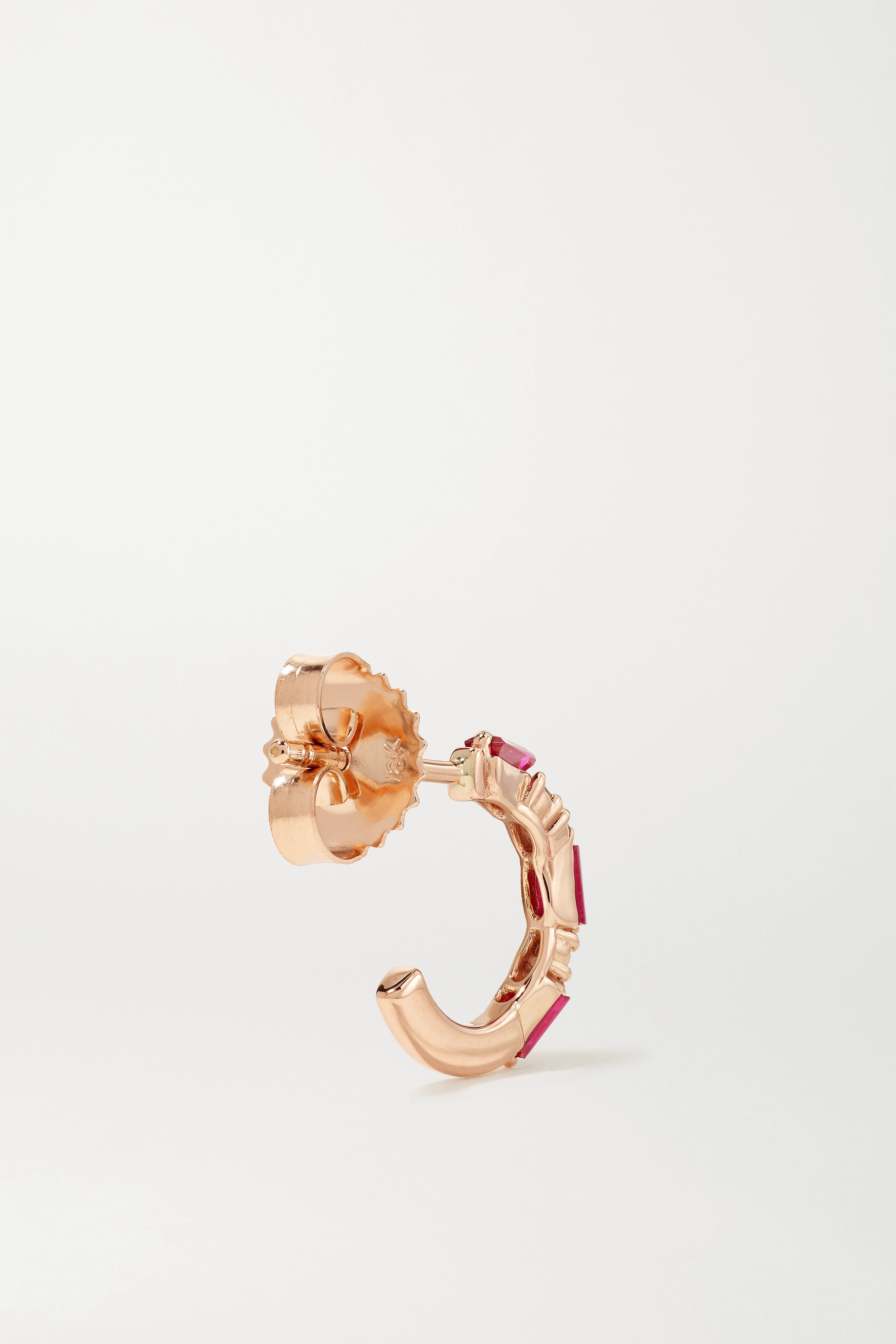 SUZANNE KALAN 18-karat rose gold, ruby and diamond hoop earrings