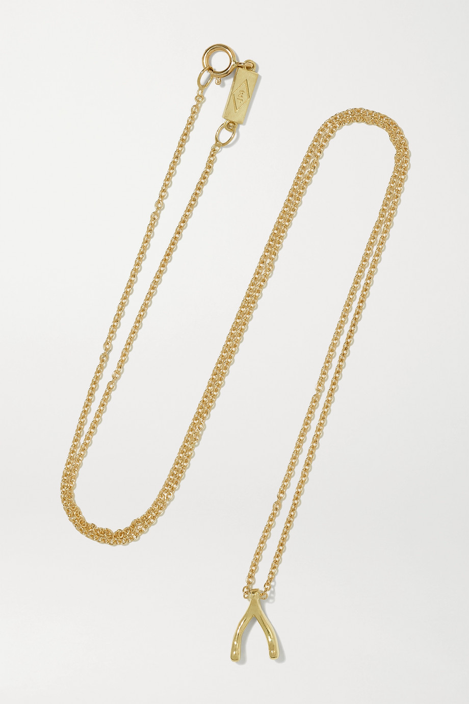 JENNIFER MEYER Mini Wishbone 18-karat gold necklace