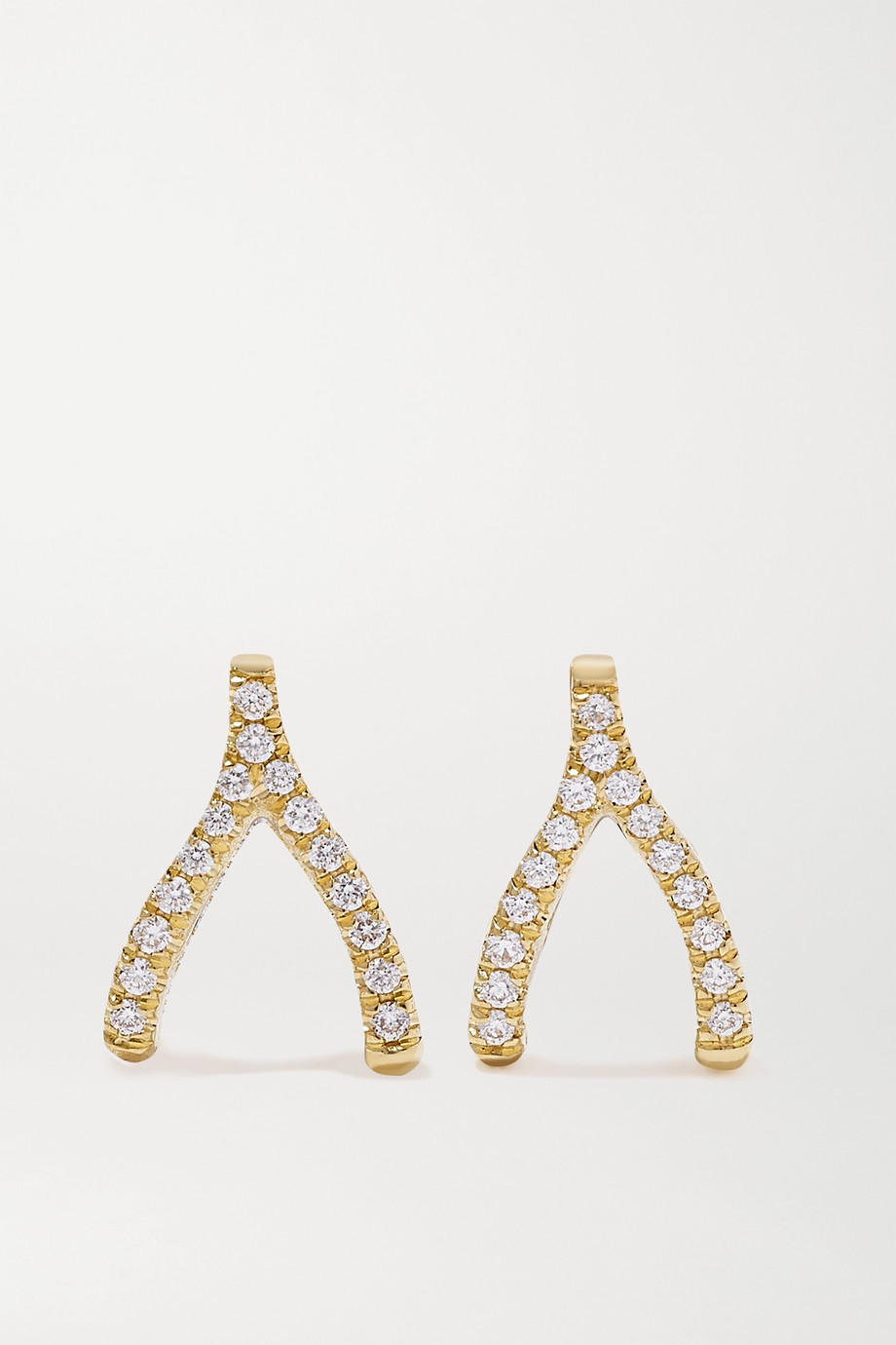 JENNIFER MEYER Mini Wishbone 18-karat gold diamond earrings