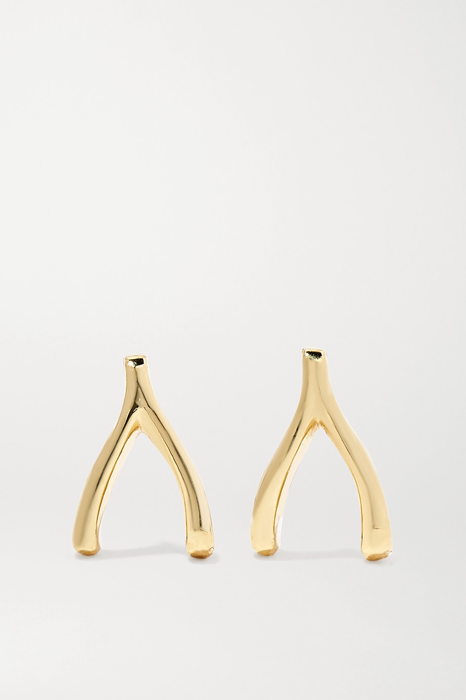 JENNIFER MEYER Mini Wishbone 18-karat gold earrings